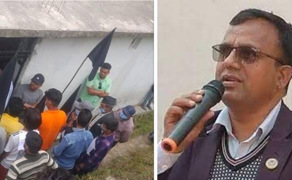 गृहजिल्ला बाजुरामा  कांग्रेस केन्द्रीय सदस्य पाण्डेलाई कालो झण्डा
